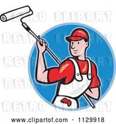 Vector Clip Art of Retro Cartoon House Painter Worker Using a Roller in a Blue Circle by Patrimonio