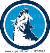 Vector Clip Art of Retro Cartoon Howling Fox in a Blue and White Circle by Patrimonio