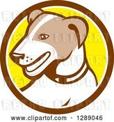 Vector Clip Art of Retro Cartoon Jack Russell Terrier Dog in a Brown White and Yellow Circle by Patrimonio