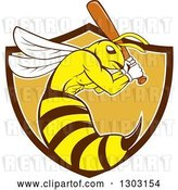 Vector Clip Art of Retro Cartoon Killer Bee Baseball Player Mascot Batting in a Bown White and Orange Shield by Patrimonio