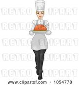 Vector Clip Art of Retro Cartoon Lady Carrying a Roasted Bird on a Platter by BNP Design Studio