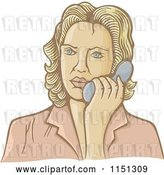 Vector Clip Art of Retro Cartoon Lady Talking on a Telephone by Any Vector