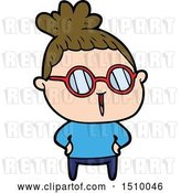 Vector Clip Art of Retro Cartoon Lady Wearing Spectacles by Lineartestpilot
