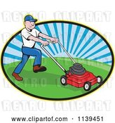 Vector Clip Art of Retro Cartoon Landscaper Mowing a Lawn by Patrimonio