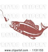 Vector Clip Art of Retro Cartoon Largemouth Bass Fish Chasing a Hook and Lure by Patrimonio