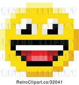 Vector Clip Art of Retro Cartoon Laughing 8 Bit Video Game Style Emoji Smiley Face by AtStockIllustration