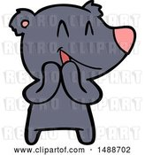 Vector Clip Art of Retro Cartoon Laughing Bear Cartoon by Lineartestpilot