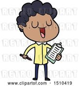 Vector Clip Art of Retro Cartoon Laughing Guy with Clipboard and Pen by Lineartestpilot