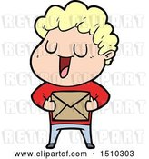 Vector Clip Art of Retro Cartoon Laughing Guy with Parcel by Lineartestpilot