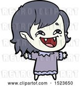 Vector Clip Art of Retro Cartoon Laughing Vampire Girl by Lineartestpilot