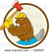 Vector Clip Art of Retro Cartoon Lumberjack Beaver Wearing a Hard Hat and Wielding an Axe in a Brown White and Pastel Green Circle by Patrimonio