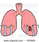 Vector Clip Art of Retro Cartoon Lungs Crying by Lineartestpilot