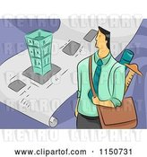 Vector Clip Art of Retro Cartoon Male Architect with a Bag and Blueprints by BNP Design Studio