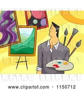 Vector Clip Art of Retro Cartoon Male Artist with Paintings by BNP Design Studio