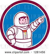 Vector Clip Art of Retro Cartoon Male Astronaut Pointing in a Maroon White and Blue Circle by Patrimonio