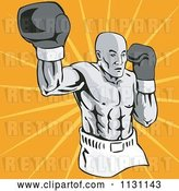 Vector Clip Art of Retro Cartoon Male Athlete Boxer Guy over Rays by Patrimonio