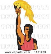 Vector Clip Art of Retro Cartoon Male Athlete Holding up a Torch by Patrimonio