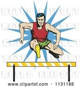 Vector Clip Art of Retro Cartoon Male Athlete Jumping a Hurdle 1 by Patrimonio
