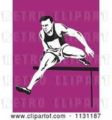 Vector Clip Art of Retro Cartoon Male Athlete Jumping a Hurdle 2 by Patrimonio