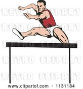 Vector Clip Art of Retro Cartoon Male Athlete Jumping a Hurdle 4 by Patrimonio