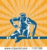 Vector Clip Art of Retro Cartoon Male Athlete Jumping a Hurdle over Rays by Patrimonio