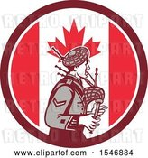 Vector Clip Art of Retro Cartoon Male Bagpiper in a Canadian Flag Circle by Patrimonio