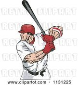 Vector Clip Art of Retro Cartoon Male Baseball Athlete at Bat by Patrimonio
