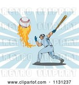 Vector Clip Art of Retro Cartoon Male Baseball Athlete Hitting a Flaming Ball over Rays by Patrimonio