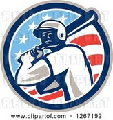 Vector Clip Art of Retro Cartoon Male Baseball Player Batting Inside an American Flag Circle by Patrimonio
