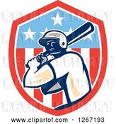 Vector Clip Art of Retro Cartoon Male Baseball Player Batting Inside an American Flag Shield by Patrimonio