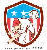 Vector Clip Art of Retro Cartoon Male Baseball Player Pitching in an American Themed Shield by Patrimonio