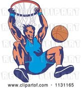Vector Clip Art of Retro Cartoon Male Basketball Athlete Hanging from a Hoop by Patrimonio