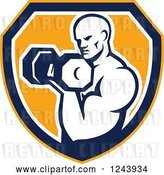 Vector Clip Art of Retro Cartoon Male Bodybuilder Doing Bicep Curls with a Dumbbell over a Shield by Patrimonio