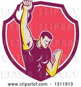 Vector Clip Art of Retro Cartoon Male Bodybuilder Lifting a Kettlebell and Emerging from a Pink and White Shield by Patrimonio