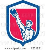 Vector Clip Art of Retro Cartoon Male Bodybuilder Working out with a Kettlebell in a Blue White and Pink Shield by Patrimonio