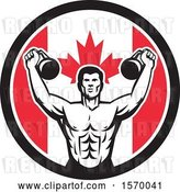Vector Clip Art of Retro Cartoon Male Bodybuilder Working out with Kettlebells in a Canadian Flag Circle by Patrimonio