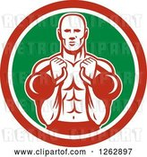 Vector Clip Art of Retro Cartoon Male Bodybuilder Working out with Kettlebells in a Red White and Green Circle by Patrimonio