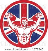 Vector Clip Art of Retro Cartoon Male Bodybuilder Working out with Kettlebells in a Union Jack Flag Circle by Patrimonio