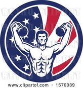 Vector Clip Art of Retro Cartoon Male Bodybuilder Working out with Kettlebells in an American Flag Circle by Patrimonio