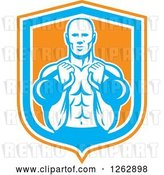 Vector Clip Art of Retro Cartoon Male Bodybuilder Working out with Kettlebells in an Orange White and Blue Shield by Patrimonio