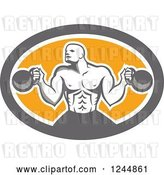 Vector Clip Art of Retro Cartoon Male Bodybuilder Working out with Kettlebells in an Oval by Patrimonio