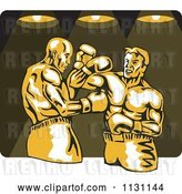 Vector Clip Art of Retro Cartoon Male Boxers Fighting Under Lights by Patrimonio