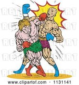 Vector Clip Art of Retro Cartoon Male Boxers Throwing Punches by Patrimonio