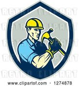 Vector Clip Art of Retro Cartoon Male Builder Construction Worker Holding a Hammer in a Gray Blue and White Shield by Patrimonio