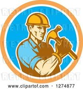 Vector Clip Art of Retro Cartoon Male Builder Construction Worker Holding a Hammer in an Orange White and Blue Circle by Patrimonio
