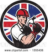 Vector Clip Art of Retro Cartoon Male Builder Construction Worker Holding a Union Jack Flag Circle by Patrimonio
