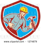 Vector Clip Art of Retro Cartoon Male Builder Shouting and Holding a Hammer in a Red White and Blue Shield by Patrimonio