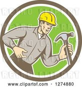 Vector Clip Art of Retro Cartoon Male Builder Shouting and Holding a Hammer in a Taupe White and Green Circle by Patrimonio