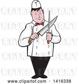 Vector Clip Art of Retro Cartoon Male Butcher Sharpening a Knife by Patrimonio