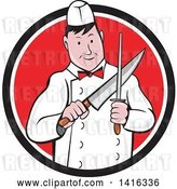 Vector Clip Art of Retro Cartoon Male Butcher Sharpening a Knife in a Black White and Red Circle by Patrimonio